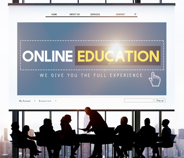 people study in front of online education board