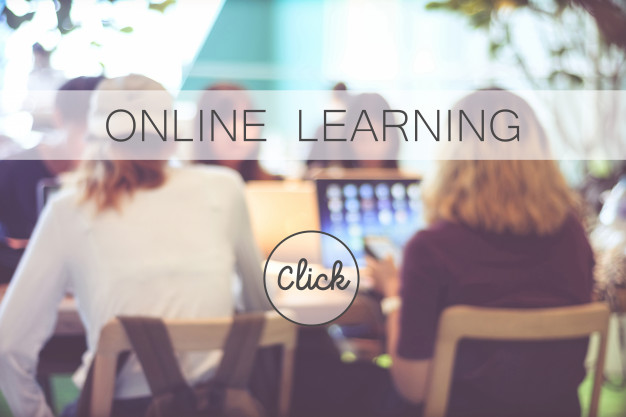 people sit back at online learning advertisement background