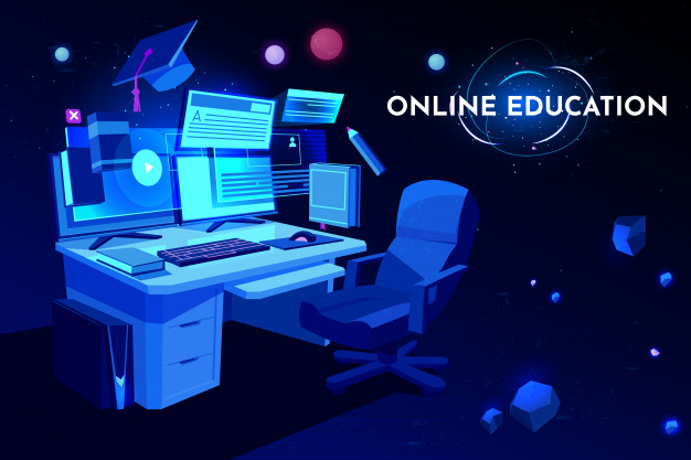 online education software with computer at workplace