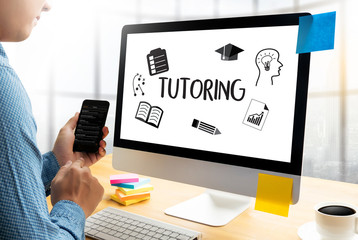 Learning about online tutoring with laptop and phone
