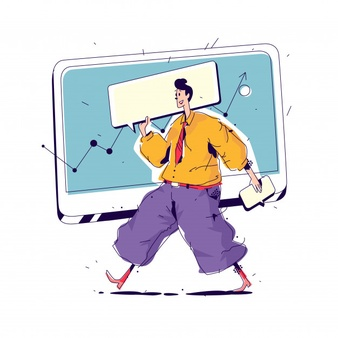 man with online whiteboard
